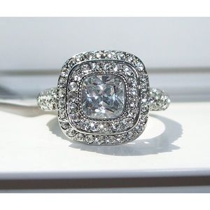 STAINLESS STEEL Square Cushion Cut & Pave CZ Ring